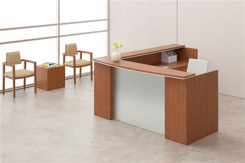 milano series lshape reception desk with silver metallic modesty panel oil cherry