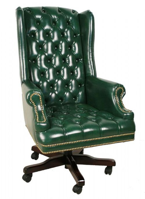 2725 Faustinou0027s Traditional Vinyl Executive High Back Chair (Green/Mahogany)