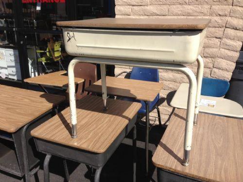 Flip Top School Desk Oak Tan Base Legs