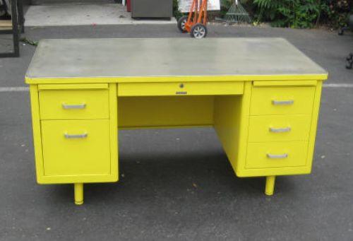 Vintage Tanker Desk In Yellow